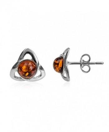 Amber Sterling Silver Small Celtic Stud Earrings - CS12N3EFNGL