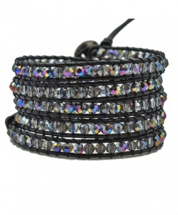 Multi-layer Braided Leather Wrap Bracelet with Sparkly Faceted Crystal Beads - 5 Wrap Multi-color - CE189TQ5KT2