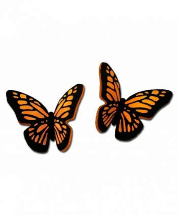 Sienna Sky Orange Monarch 3D Butterfly Hand Painted Small Stud Post Earrings with Gift Box Made USA - CN182HARXZQ
