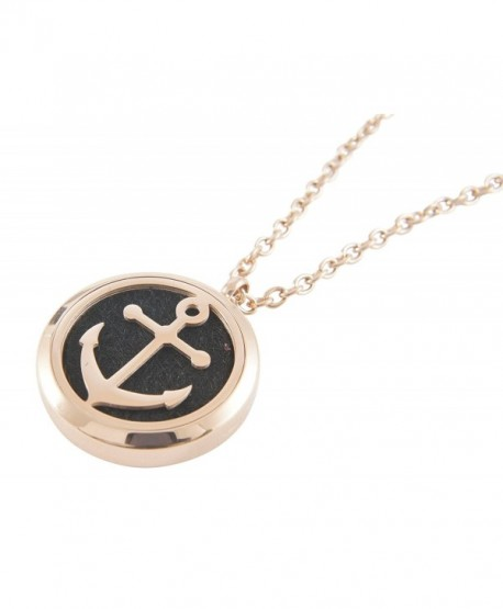 Essential Oil Diffuser Necklace- Anchor Locket- Rose Gold Plated Hypoallergenic Stainless Steel - CU17Z5YMA2O