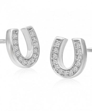 Sterling Silver Cubic Zirconia Lucky Horseshoe Stud Earrings - CK12G8QX4MH