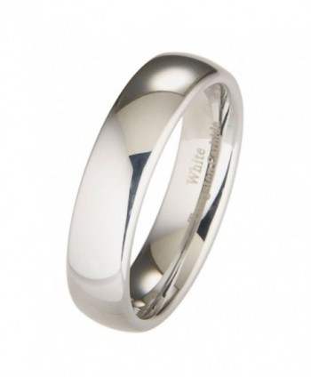 MJ 6mm White Tungsten Carbide Polished Classic Wedding Ring - C711H9RPRQV