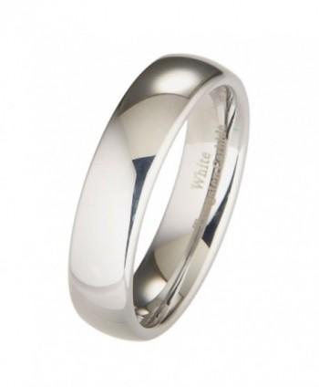 MJ 6mm White Tungsten Carbide Polished Classic Wedding Ring - C711H9RPRQV