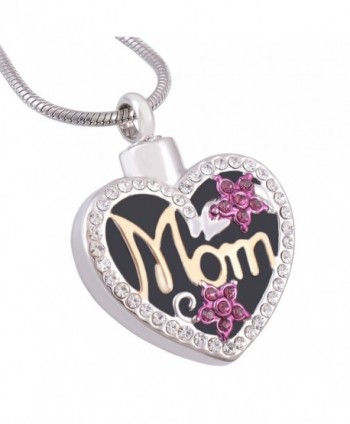 Eternally Loved Mom in Heart Engravable Cremation Necklace Two Tone Ashes Urn Memorial Pendant Jewelry for Women - C612BB92GR5
