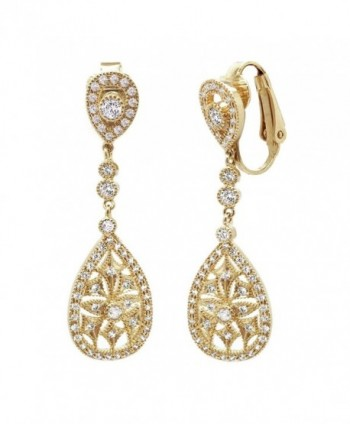 Sparkly Bride CZ Clip On Earrings Wedding Vintage Cutout Teardrop 1.75 in - Yellow - CO12GHS40HT