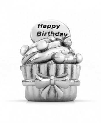 BELLA FASCINI Happy Birthday Cupcake European Bead Charm Sterling Silver Fits All Compatible Bracelets - C211G2ZM377