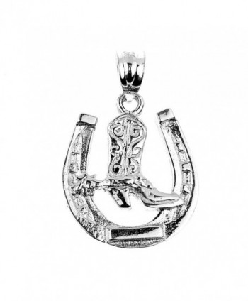 925 Sterling Silver Lucky Horseshoe with Cowboy Boot Charm Pendant - CL122XHWX3L