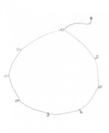 "Sterling Silver Round Clear Cubic Zirconia Link Chain Necklace- 16"" with 2"" Extender - CY11G4WH43B"