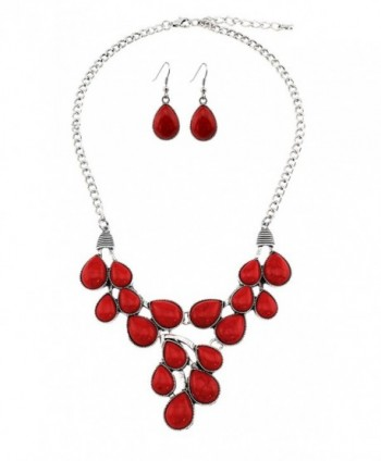 Stone Teardrop Cabochon Bib Necklace With Matching Earrings - Red - CI12IRP6DXT