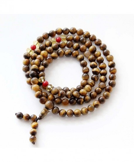 108 6mm Tiger Eye Beads Buddhist Prayer Meditation Mala Necklace - CX119HODI79