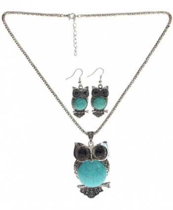 Lova Jewelry Owl Turquoise Necklace and Earrings Set - CG122FRXICT