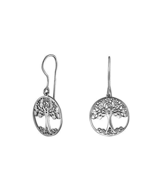 Handmade 925 Sterling Silver Celtic Tree Dangle Earrings - C617YYSKX8O