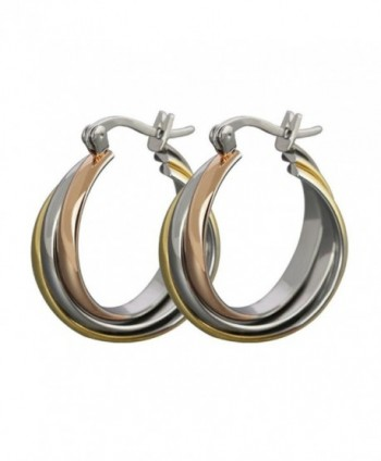 AMDXD Jewelry Titanium Stainless Steel Women's Fashion Hoop Earrings Three-colour Rings Width 21.5MM - CY11MULG4QD
