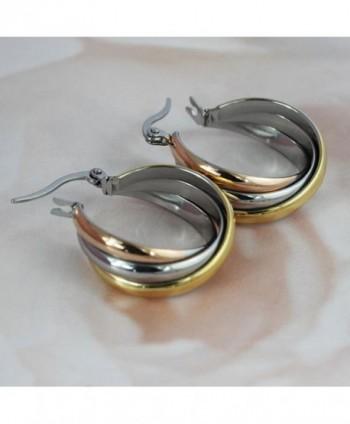 AMDXD Titanium Stainless Earrings Three colour in Women's Hoop Earrings