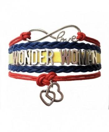 Custom Infinity Love Wonder Woman Double Heart Charm Wax Cords Wrap Braided Leather Adjustable Bracelet - CZ185EI0LMM