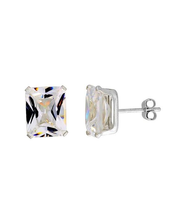 Sterling Silver Cubic Zirconia Emerald cut Earrings Studs 8 carat/pair - CV112672QQN