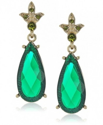 1928 Jewelry Silver-Tone Faceted Teardrop and Crystal Drop Earrings - Green - CG11S2Q4FVL