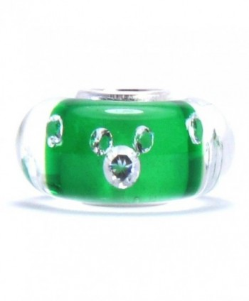 Bella Fascini CZ MICKEY 925 Sterling Silver Core Fits Compatible Bracelets and Bangles (Green) - C3118R6TOG7