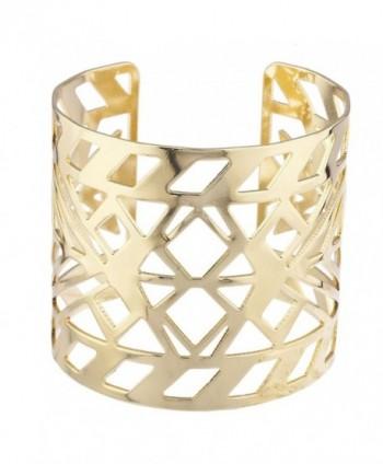 Lux Accessories Aztec Style Geo Cutout Bracelet Cuff - Gold - CY12N5P08DQ