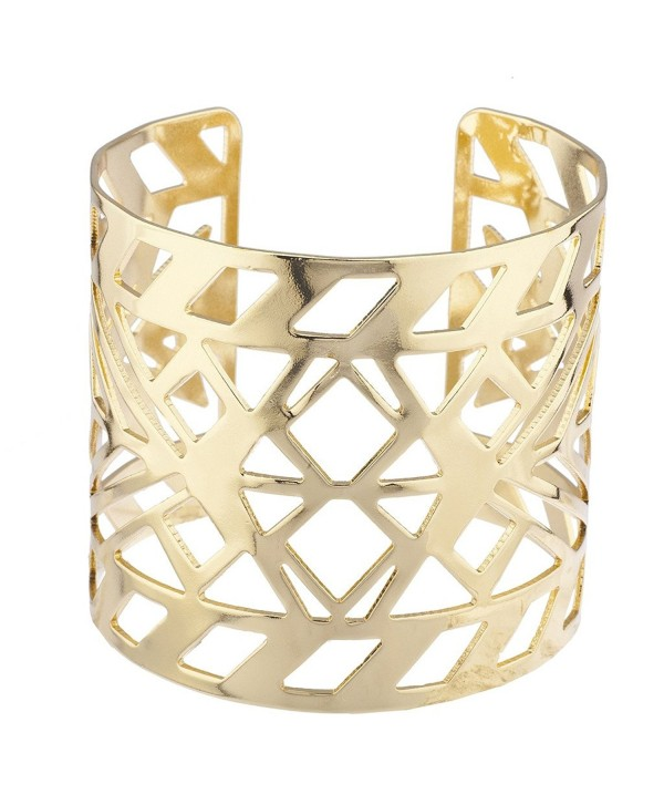 Lux Accessories Aztec Style Geo Cutout Bracelet Cuff - Gold - CY12N5P08DQ