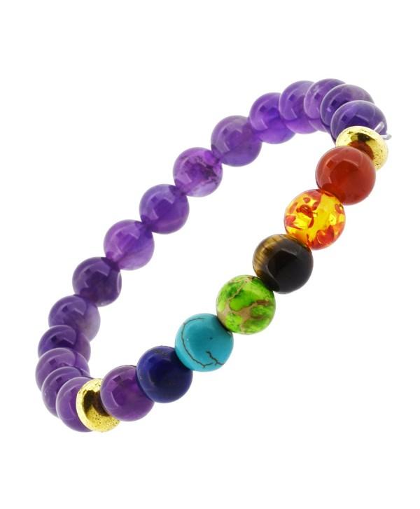 7 Chakra Balancing Stones Meditation Yoga Jewelry Stretch Bracelet - CH12EGTFMKF