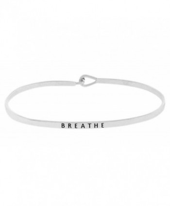 "Inspirational ""BREATHE"" Positive Message Engraved Thin Brass Bangle Hook Bracelet - Silver Tone - CS12O8IUFQU"