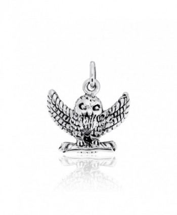 WithLoveSilver Solid Sterling Silver 925 3D HP Owl Pendant - C111F929BNN