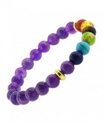 Balancing Meditation Bracelet Simulated Amethyst in Women's Stretch Bracelets
