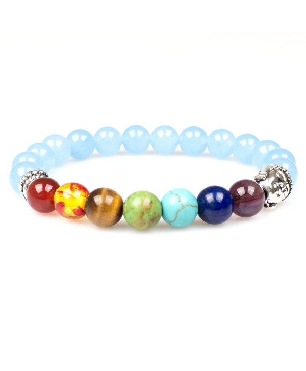 "Women Men 7 Chakras Energy Stone Mala Beads with Sliver Buddha Stretch Bracelets 7.08"" - Sky Blue - CM17Z74NL07"