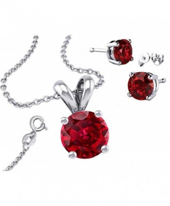 925 Sterling Silver Round Cubic Zirconia Simulated Garnet Pendant and Earrings Combo - CY129SL9ENR