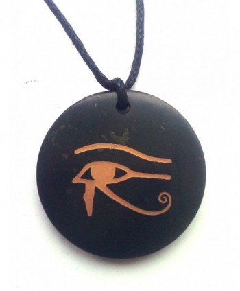 "Karelia Shungite Pendant natural - Karelian Shungite EMF Protection- energy necklace - """"""Eye of Horus"""" Circle"" - CS17YQOCGQ6"