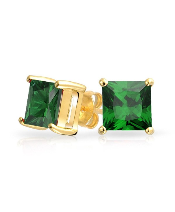 Bling Jewelry Square CZ Princess Cut Simulated Emerald May Birthstone Stud earrings Gold Plated 7mm - CB11KWAR1ER