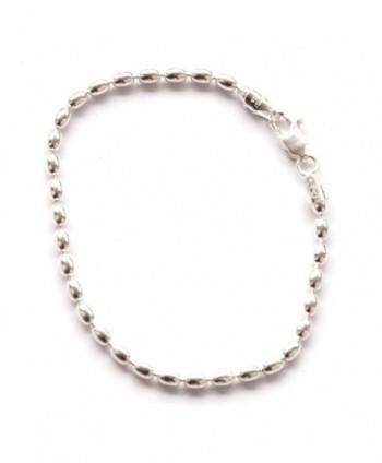 7-inch St. Silver Famous Charleston 400g Rice Bead Link Bracelet For Women Sturdy Bracelet 4x5 mm Beads - CU129IMD5DB