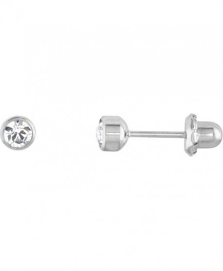 4mm Crystal Bezel Titanium Piercing Earrings - CH11BU95V4R