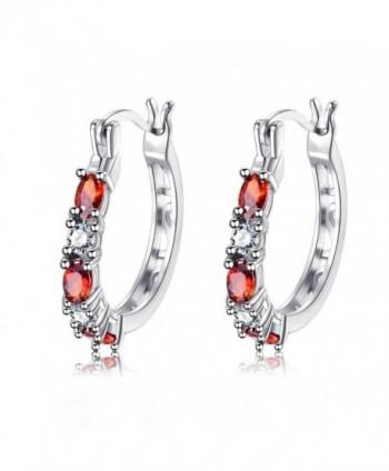Garnet Crystal Small Hoop Earrings 14k White Gold CZ Round Earring for Women Teen Girls Best Friend - C1180L09XET