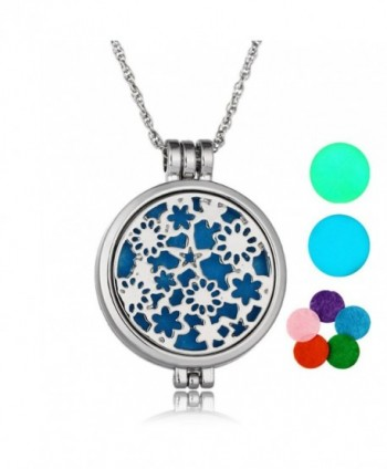 Aromatherapy Essential Oil Diffuser Glow in Dark Locket Pendant Necklace for Women - Silver - CJ184O3HZWY