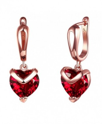 Yozone Heart Shaped Inlaid Red Diamond Earrings Rose Gold Ear Buckle - Red - C717YLDRGR8