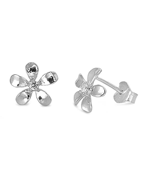 Sterling Silver Plumeria Flower Stud Earrings - 9mm - CC11CM964X1