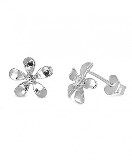 Sterling Silver Plumeria Flower Stud Earrings - 9mm - CC11CM964X1