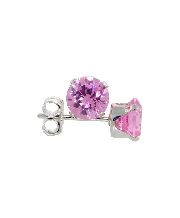Sterling Silver Cubic Zirconia Pink Earrings Studs 5 mm Pink Zircon Color 1 carat/pair - CQ114E2H8ZH