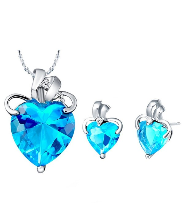 Jewelry Sets- Layla White Gold Plated Crystal Bridal Pendant Necklace Earrings Sets - Blue(Heart Drop) - CC11Z6EWATZ