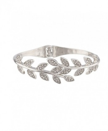 Lux Accessories Pave Crystal Leaf Branch Tree of Life Hinge Bracelet. - C411WUVVPHV