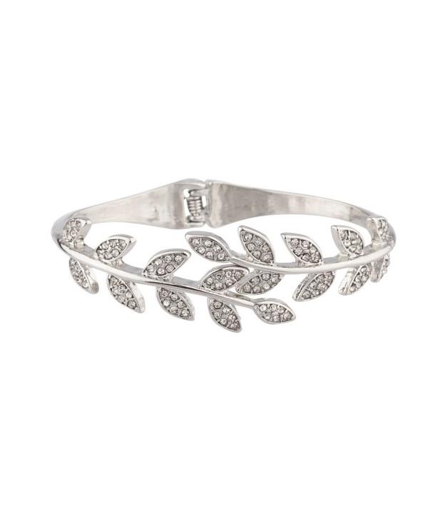 Lux Accessories Pave Crystal Leaf Branch Tree of Life Hinge Bracelet. - C411WUVVPHV