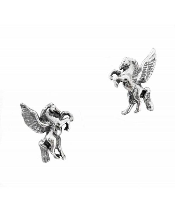 Sterling Silver Pegasus Stud Post Earrings - CV120K3B1KL
