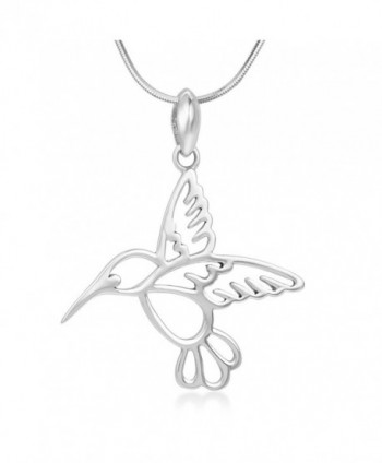 "925 Sterling Silver Open Beautiful Flying Hummingbird Pendant Necklace for Women- 18"" Chain - CX12BJVFZ87"