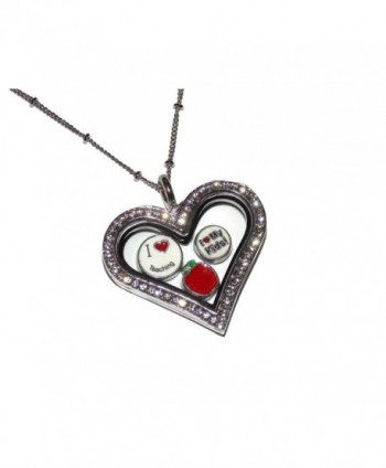 Teacher Gift Floating Locket Necklace Kit - Heart Shaped Locket with 20 Inch Chain and 10 Teaching Theme Charms - CO12HV6A18H