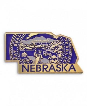 PinMart's State Shape of Nebraska and Nebraska Flag Lapel Pin - CS119PEKUR7