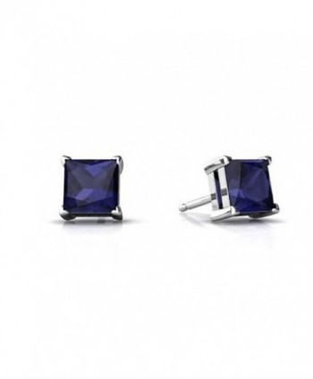 Solitaire Stud Post Earring Princess Cut Simulated Deep Blue Sapphire 925 Sterling Silver - C012MYYQTD5