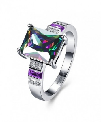 Blean Women's 925 Sterling Silver 8mm Gemstone Filled Ring (Sizes 6 to 8) - C9183Y8AKRK