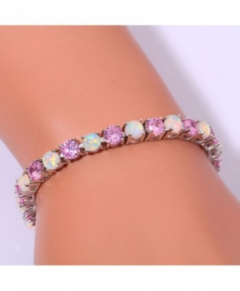 CiNily Created Jewelry Gemstone Bracelet - White & Pink - CR12N7CL69W